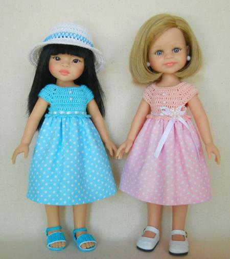 13097bac902 Как сшить и связать простое платье для куклы Паола Рейна