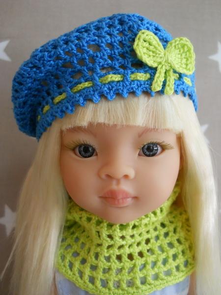 Берет и шарф для куклы Паола Рейна